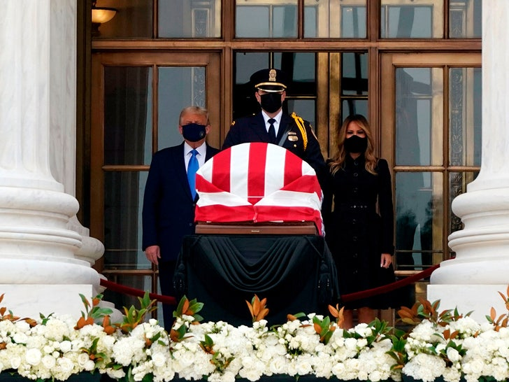 People Paying Respects At Ruth Bader Ginsburg's Casket