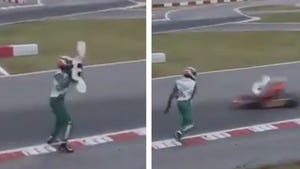Italian Kart Driver Throws Bumper at Other Racers on Track
