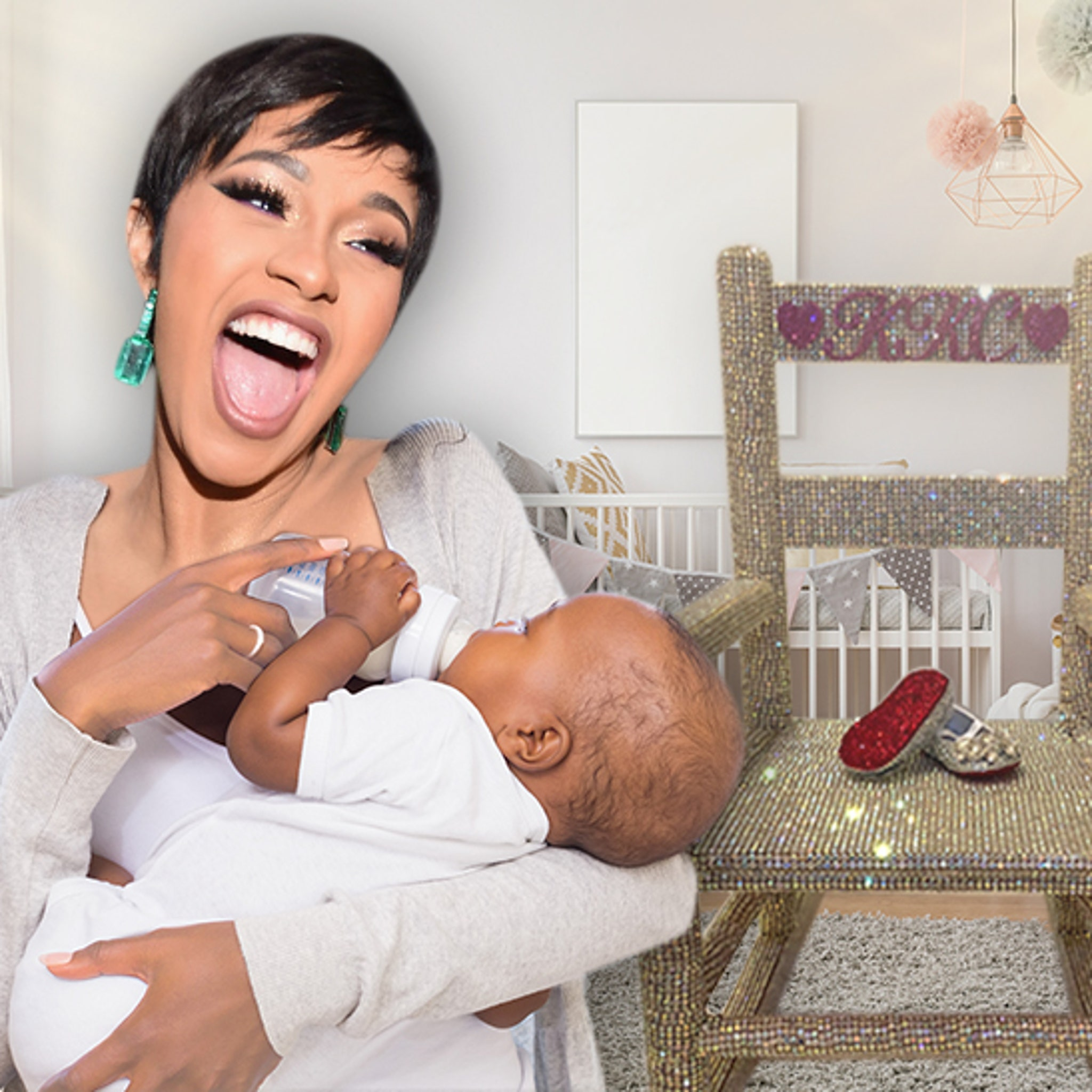 Cardi B S Baby Kulture Gets Blinged Out Chair And Shoes