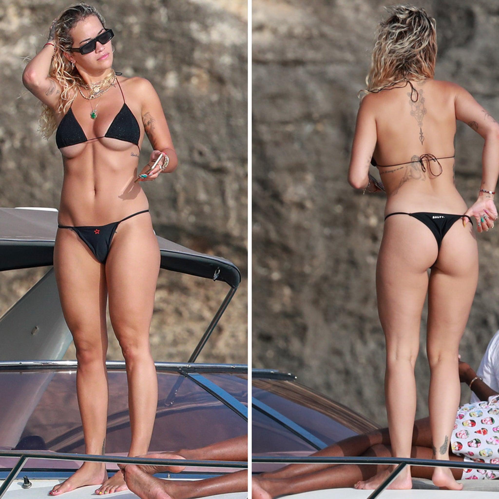 Rita Ora's Bikini is Barely Holding On in Ibiza