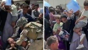 U.S. Marine Gives Water to Afghan Kids Waiting to be Evacuated