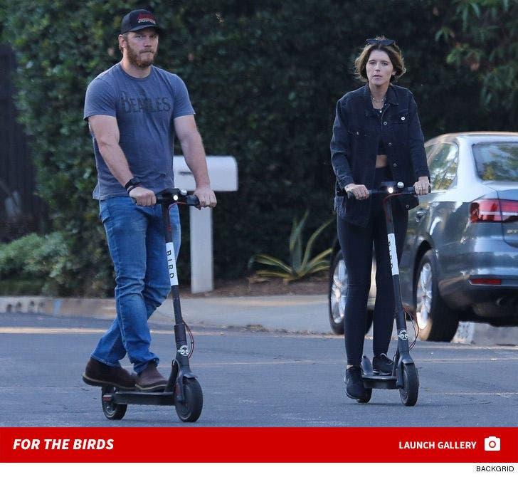 Chris Pratt and Katherine Schwarzenegger Riding Bird Scooters