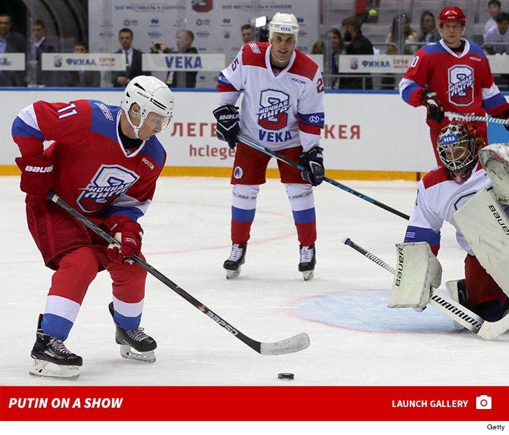 Vladimir Putin Scores 8 Goals in Russian Hockey Game Against Terrified Opponents