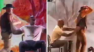NFL's DeMarcus Ware Gets Lap Dance From Shirtless Cowboy At 'DWTS' Show