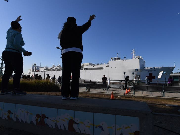US Navy Ship Mercy Docks In Los Angeles